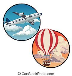 two circles with plane blue sky and sunset sky airballoon