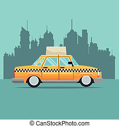 taxi car new york side view town background vector...