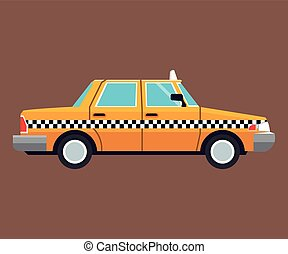 taxi car side view brown background