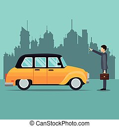 old cab car passenger user service public vector...