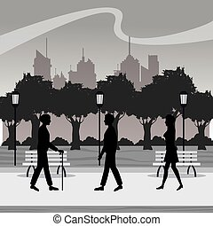 silhouette persons walk city park brench lamp postlight...