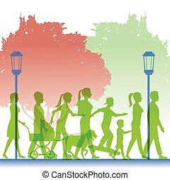 silhouette green color people walking in street