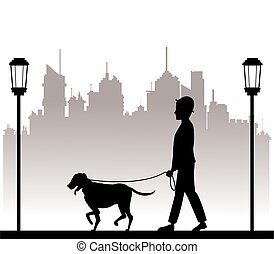 silhouette man with dog walking park city background vector...