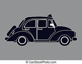 silhouette old taxi car side view