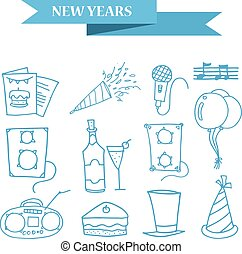 Object New Year icons collection stock