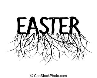 EASTER and Roots. Black Vector Illustration.