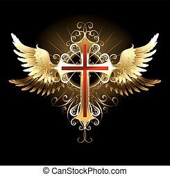 Cross with Golden Wings