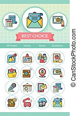 icon set media vector