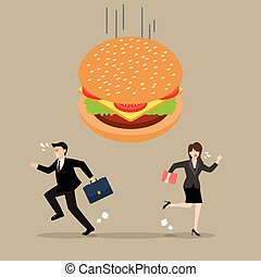 Business people run away from hamburger crisis. Business...