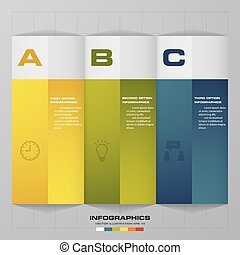 Simple and editable 3 steps chart/ banners template on grey...