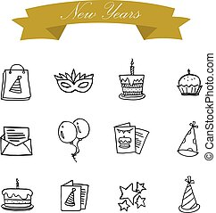 Illustration of new year icons collection