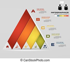 5 steps presentation char in pyramid shape. graphic or...