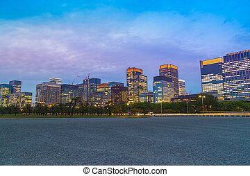 tokyo city at twilight, view from footpath, Japan