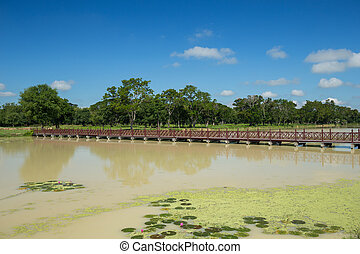 wooden bridge in sukhothai historical park, Thailand - Old...