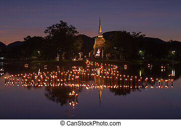 light in Buddha Statue in Loy Kratong Festival, Sukhothai...