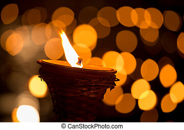 Traditional wooden torch flame at night - Traditional wooden...