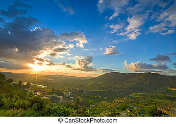 Khao Kho mountain ranges in the sunset, Thailand - Khao Kho...