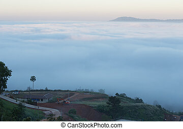 fog in the morning with mountain at Khao Kho, Thailand - fog...