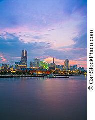 cityscape of Minato Mirai, Yokohama, Japan - cityscape of...