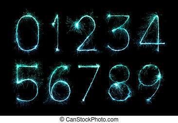 digit set of firework sparklers - digit set made of firework...