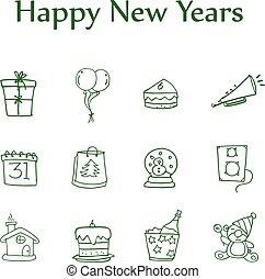 Colletion style icon of new year element