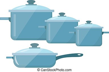 Set of dishes, pots and pans icon vector flat style. Isolated on white background.  illustration