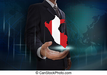Businessman showing map of Peru on globe background