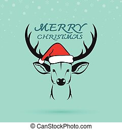 Vector image of an deer and santa hats on blue background....