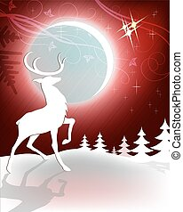Reindeer on red Christmas background