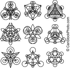 Vector geometric symbols - Linear geometric ornaments....