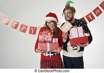 プレゼント, 恋人, クリスマス, 保有物, 手