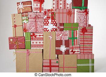 Wall of big Christmas presents