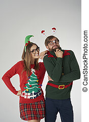 Christmas madness of young couple