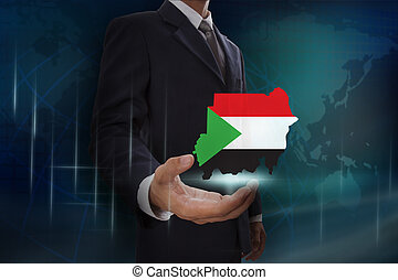 Businessman showing map of Sudan on globe background