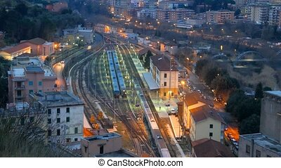 Arriving by train from Rome at dawn. Station Tivoli. Italy....