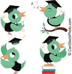 Birds with graduation hats and gowns