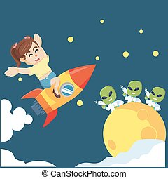 woman riding a rocket to the moon to meet aliens