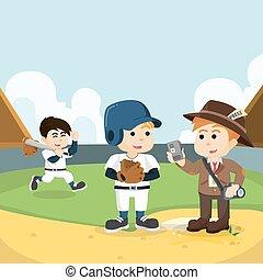 journalist interviewing baseball player