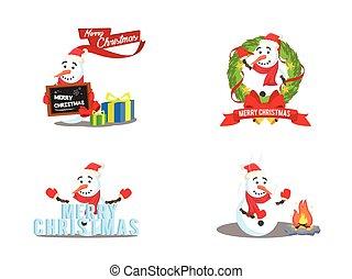 snow man cartoon set