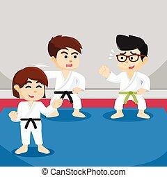 boy learning karate illustration design