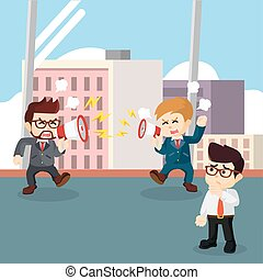 businessman fighting at the office