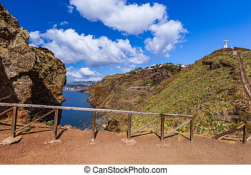 The Christ the King statue on Madeira island - Portugal -...