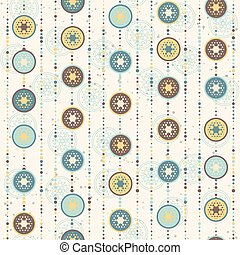 Retro Christmas pattern, circles and abstract star