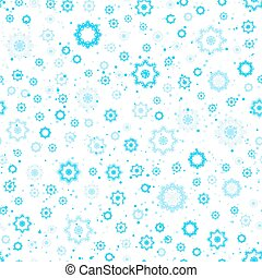 Snowflakes seamless pattern, blue and white colors. Winter...
