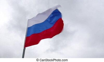 Russian flag flies - Russian flag flying in the background...