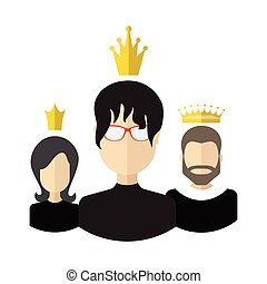 Teamwork With Leader Concept - Persons with crowns flat...