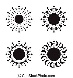 Set of sun vector icons - Set of black sun vector icon. Star...