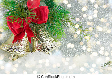 Two Christmas bells decoration on festive lights - Two...