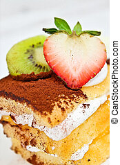 Yummy layer cake - A piece of cake with strawberry ,kiwi and...