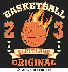Cleveland Ohio sport typography t-shirt basketball burning...